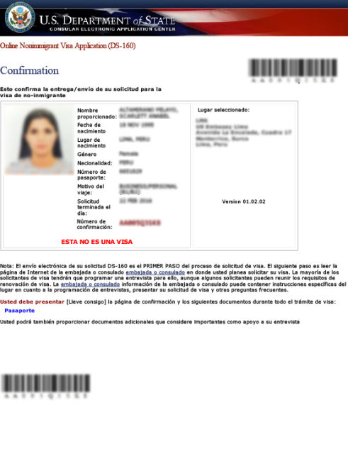 DS-160 Sample for Visa B1 B2